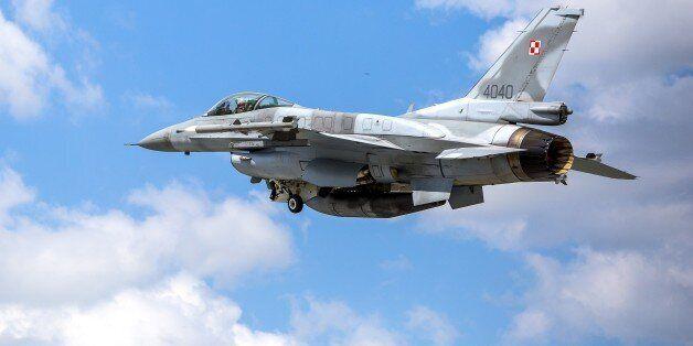 KONYA, TURKEY - MAY 12: A plane is seen during the NATO Tiger Meet 2015 drill press tour at the Konya...