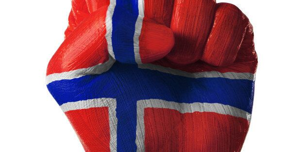 painted, flag, country, norway, colorful, nation, pride, power, propaganda, fierce, fist, punch, unity,...