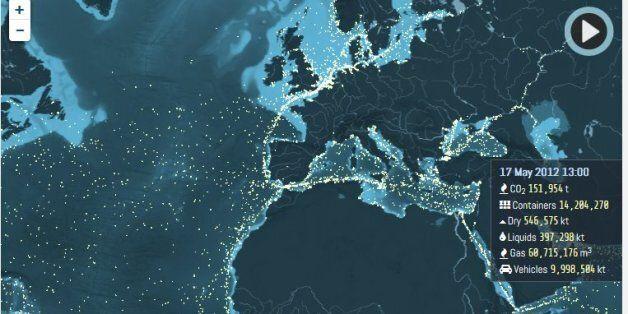O χάρτης που δείχνει όλες τις διαδρομές των πλοίων στη θάλασσα παγκοσμίως. Μεταφέρουν 11 δισ. τόνους