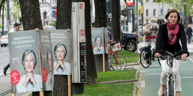 Election campaign posters of independent presidential candidate Irmgard Griss are seen in Vienna, Austria...