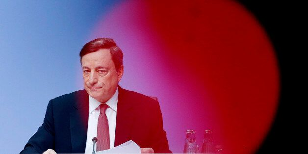 President of European Central Bank, ECB, Mario Draghi speaks during a news conference after a meeting...