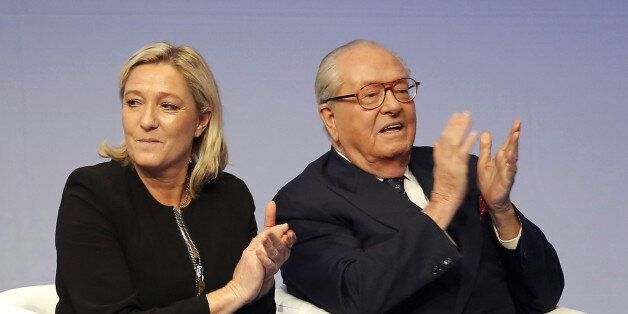 FILE - In this Saturday Nov. 29, 2014 file photo, French far-right Front National leader Marine Le Pen...