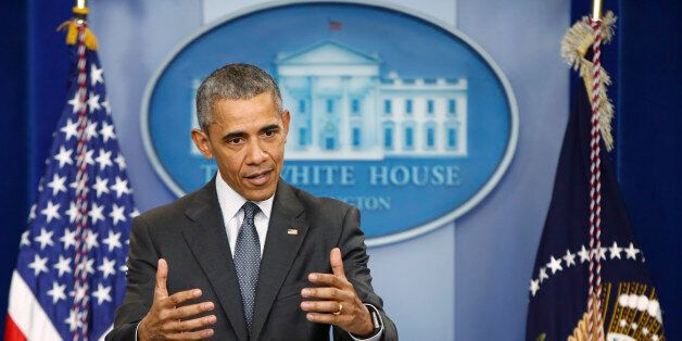 U.S. President Barack Obama delivers remarks on the economy in the White House press briefing room in...