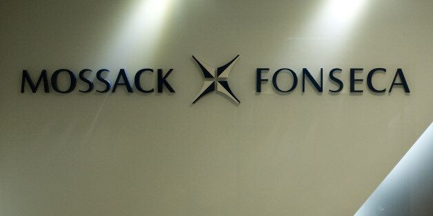The logo of Panama law firm Mossack Fonseca is seen at the entrance of its Hong Kong office on April...