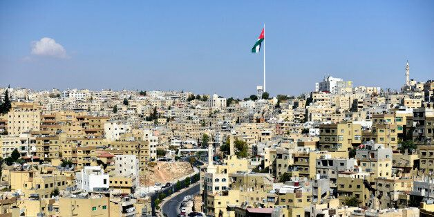 View over the city of Amman from Citadel Hill, showing the Raghadan flagpole,