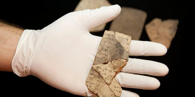 Letters inscribed on pottery, known as ostracons, which were unearthed in an excavation of a fort in...