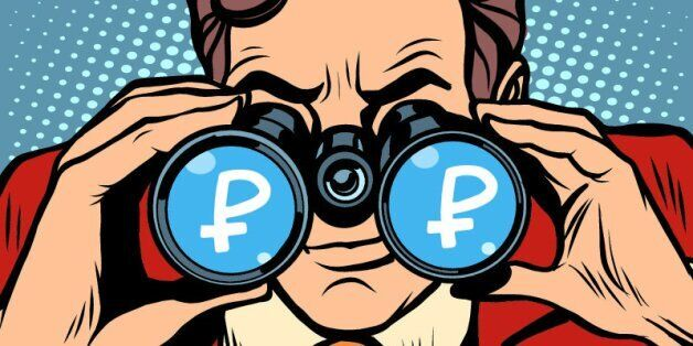 Monitoring ruble currency exchange rate pop art retro style. A man looks through binoculars. The trader...