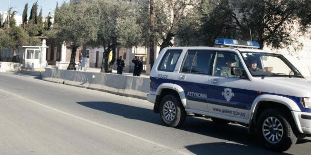 Nicosia, CYPRUS: Cyprus police patrol outside the US Embassy in Nicosia, Cyprus, 06 March, 2007. According...