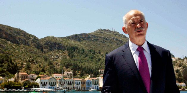 FILE - In this file photo of Friday, April 23, 2010 Greek Prime Minister George Papandreou announces...