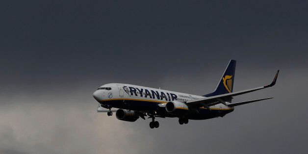 A Ryanair plane prepares to land at Manchester Airport in Manchester northern England, March 31, 2016....