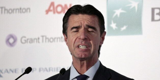 Spain's Industry Minister Jose Manuel Soria reacts as he delivers a speech during an event in Madrid,...
