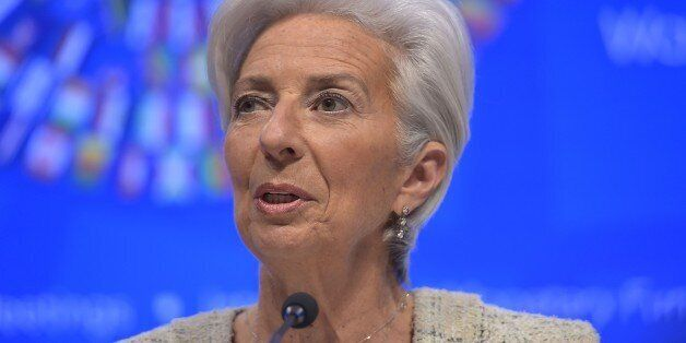 International Monetary Fund Managing Director Christine Lagarde speaks during a press conference during...