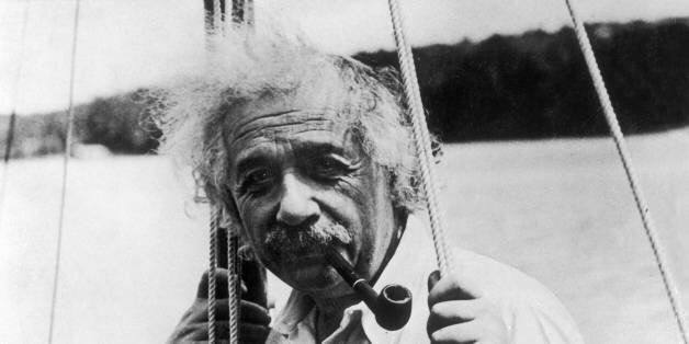 UNSPECIFIED - JANUARY 01: The German physicist Albert EINSTEIN on his small sailboat while on vacation,...