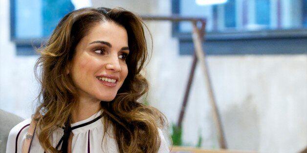 MADRID, SPAIN - NOVEMBER 19:  Queen Rania Abdullah of Jordan visits the Prado Media Lab cultural center on November 19, 2015 in Madrid, Spain.  (Photo by Juan Naharro Gimenez/WireImage)