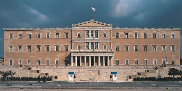 Facade of a government building, Parliament Building, Athens,