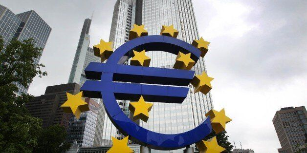 German artist Ottmar Hörl 's sculpture depicting the Euro logo is pictured in front of the former headquarter...
