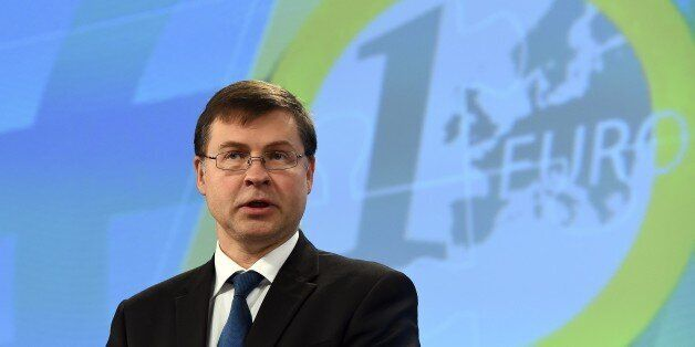 European commissioner for the Euro and social dialogue Valdis Dombrovskis holds a press conference on...