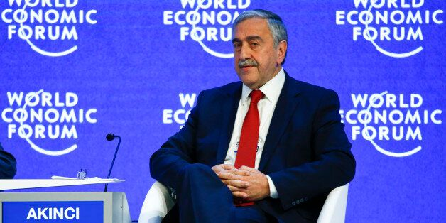 Turkish Cypriot leader Mustafa Akinci attends the session 'Reuniting Cyprus' at the annual meeting of...