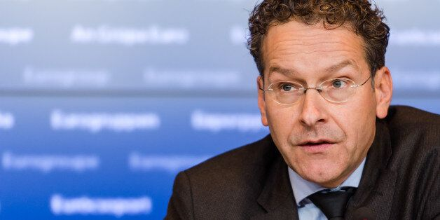 Dutch Finance Minister and chair of the eurogroup finance ministers Jeroen Dijsselbloem addresses the...