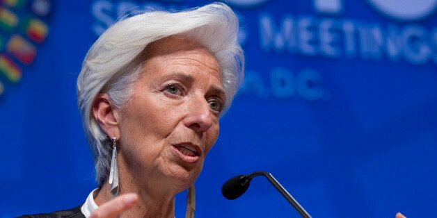 International Monetary Fund (IMF) Managing Director Christine Lagarde speaks during a news conference...