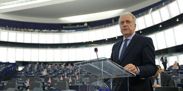 EU Commissioner for Migration and Home Affairs Dimitris Avramopoulos addresses the European Parliament...