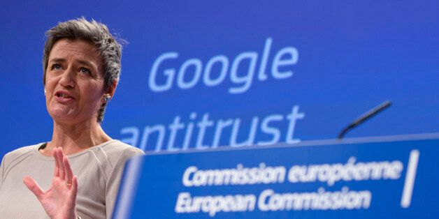 European Union's competition chief Margrethe Vestager speaks during a media conference regarding Google...