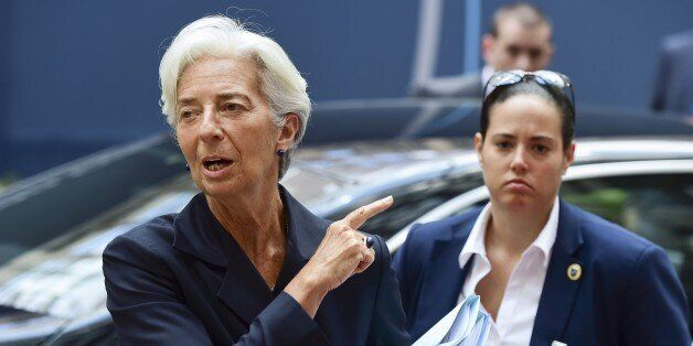 International Monetary Fund (IMF) chief Christine Lagarde arrives for a Eurogroup meeting at the EU headquarters...