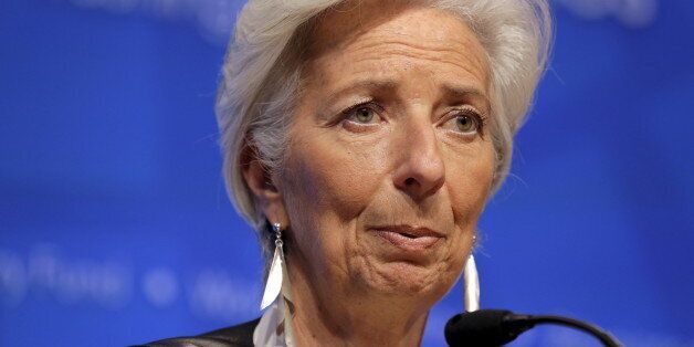 IMF Managing Director Christine Lagarde speaks during a news conference after the International Monetary...