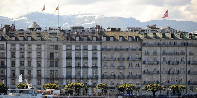 Buildings on the banks of Lake Geneva in