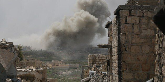 ALEPPO, SYRIA - APRIL 8 : Smoke rises after Russian air-strikes hit opposition controlled areas as clashes...