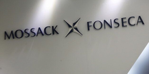 The company logo of Mossack Fonseca is seen inside the office of Mossack Fonseca & Co. (Asia) Limited...
