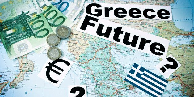 'Map of Greece with EURO Banknotes,Coins,symbols, the words, greece and future - tinted