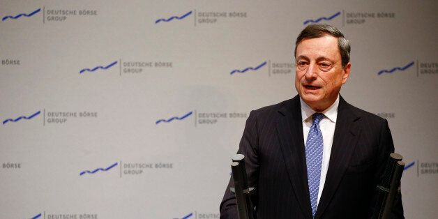 The President of the European Central Bank (ECB) Mario Draghi speaks during the new year's reception...