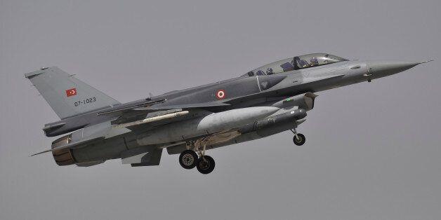 A Turkish Air Force F-16D Block 52+ prepares for landing at Konya Air Base, Turkey, during Exercise Anatolian...