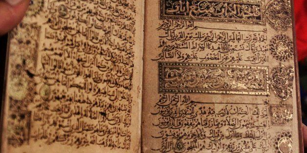 This is a handwritten manuscript of the Qurran by Ibn al-Bawab, a renowned seventh century caligraphist,...