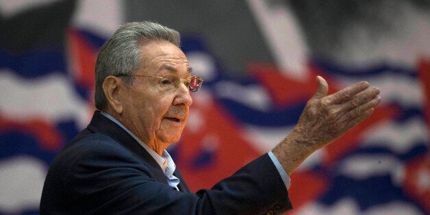 Cuba's President Raul Castro addresses the 7th Cuban Communist Party Congress in Havana, Cuba, Saturday,...