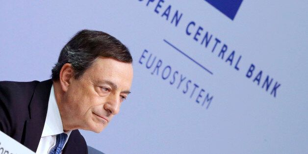 President of European Central Bank Mario Draghi speaks during a press conference following a meeting...