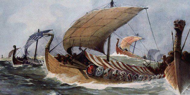 UNSPECIFIED - CIRCA 1754: Drakkar. Viking longships under sail. Watercolour by Albert Sebille (1874-1953)....