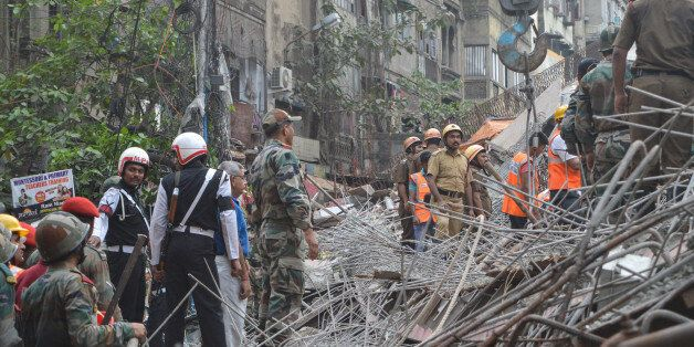 KOLKATA, WEST BENGAL, INDIA - 2016/03/31: An under-construction flyover collapsed in a congested Kolkata...