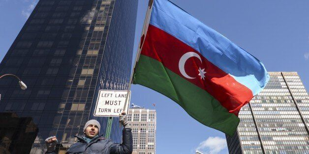 NEW YORK, NY - FEBRUARY 26: Azerbaijani and Turkish citizens gathered in front of the Permanent Mission...
