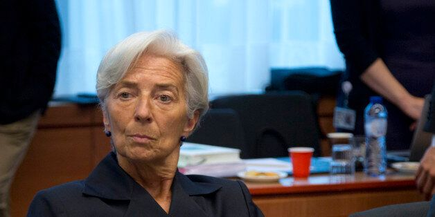 Managing Director of the International Monetary Fund Christine Lagarde waits for the start of a meeting...