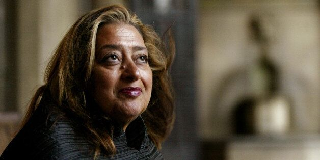 FILE- In this March 21, 2004 file picture, Iraqi-British architect Zaha Hadid poses in West Hollywood,...