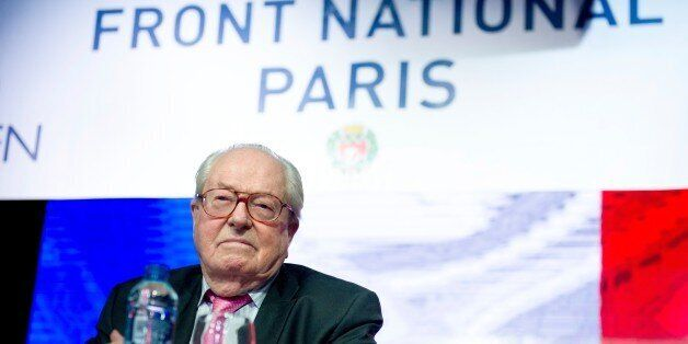 French far-right Front National (FN) party honorary president Jean-Marie Le Pen prepares to deliver a...