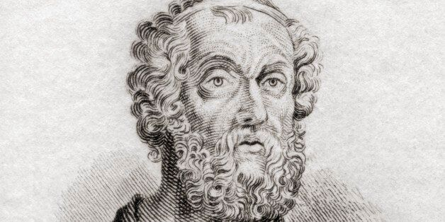 Homer. Greek Epic Poet. From Crabb's Historical Dictionary Published 1825. (Photo by: Universal History...