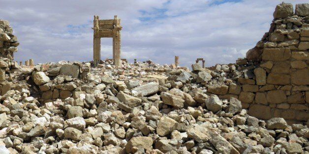 A picture shows on March 29, 2016 the remains of the Temple of Bel in the historical city of Palmyra...