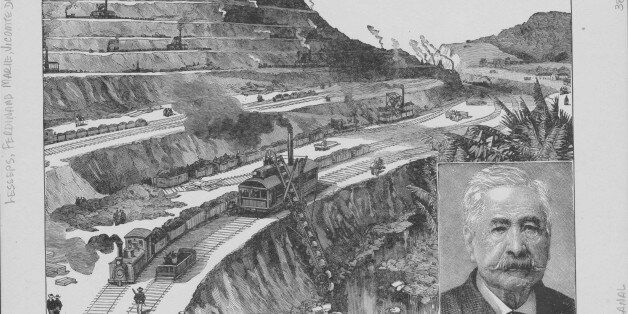Engraving depicting the construction of the Panama Canal, and a portrait of the original French developer...