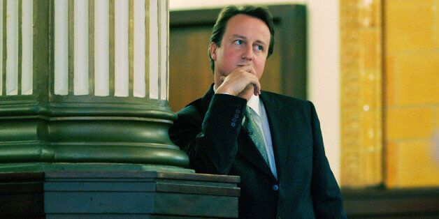 Contender for leadership of Britain's opposition Conservative party David Cameron waits to make his keynote...