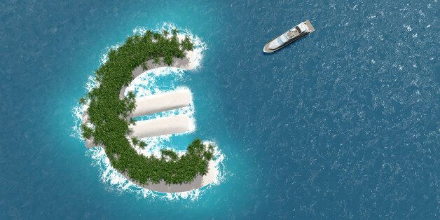 Tax haven, financial or wealth evasion on a euro shaped island. A luxury boat is sailing to the