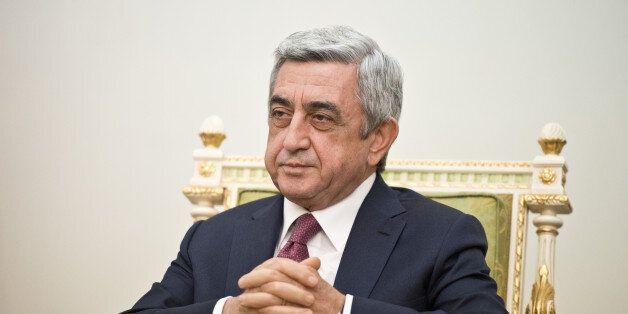 YEREVAN, ARMENIA - OCTOBER 23: Armenias President Serge Sargsyan looks on in the presidents residence...
