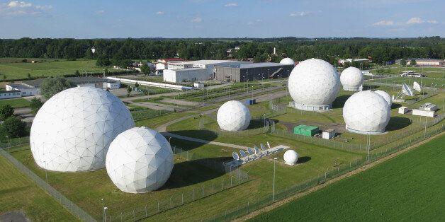 BAD AIBLING, GERMANY - JUNE 02: Radomes of the digital communications listening station of the Bundesnachrichtendienst...